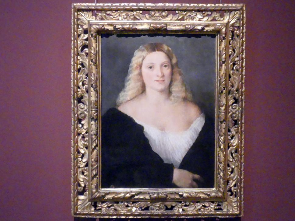 Tiziano Vecellio (Tizian): Junge Frau in schwarzem Kleid, um 1520