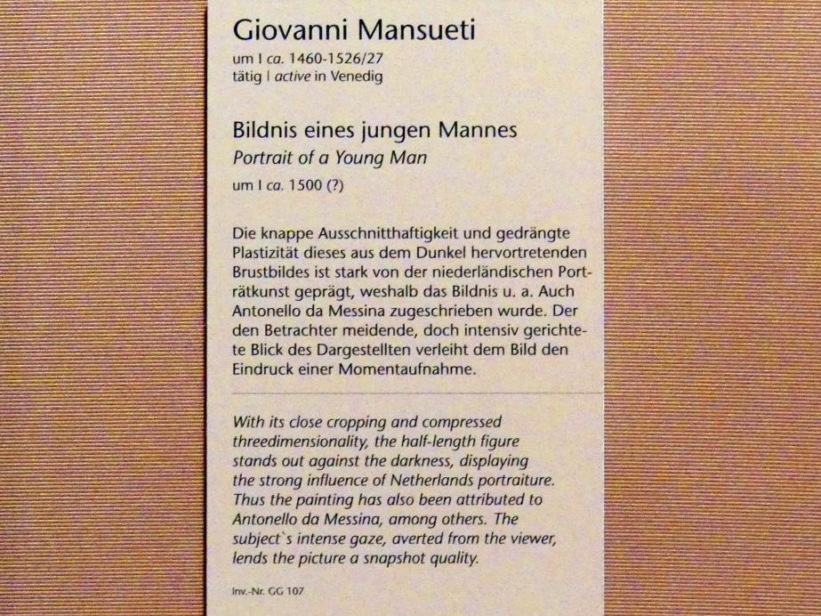Giovanni di Niccolò Mansueti: Bildnis eines jungen Mannes, um 1500, Bild 2/2