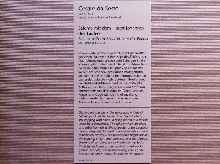 Cesare da Sesto: Salome mit dem Haupt Johannes des Täufers, um 1512 - 1516, Bild 2/2