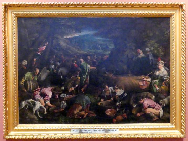 Jacopo Bassano (da Ponte): Moses schlägt Wasser aus dem Felsen, Um 1565