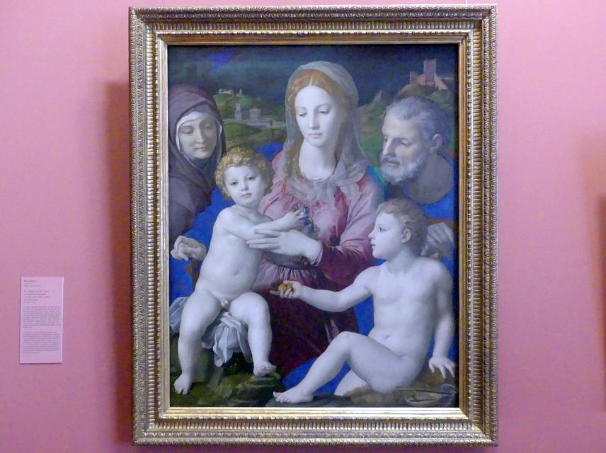 Agnolo di Cosimo di Mariano (Bronzino): Heilige Familie mit hl. Anna und Johannesknaben, um 1540