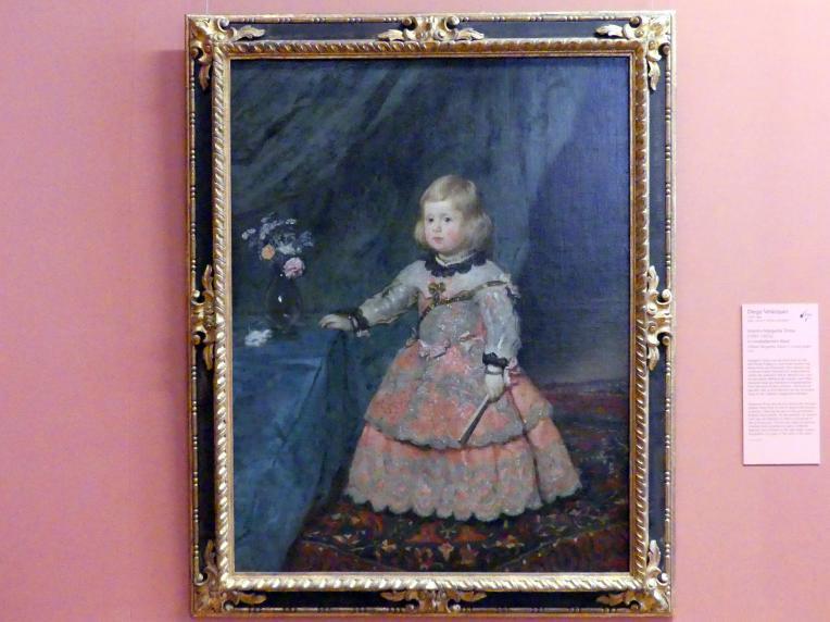 Diego Rodríguez de Silva y Velázquez: Infantin Margarita (1651-1673) in rosafarbenem Kleid, 1654