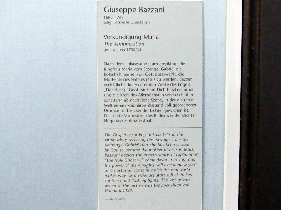 Giuseppe Bazzani: Verkündigung Mariä, um 1750 - 1755, Bild 2/2