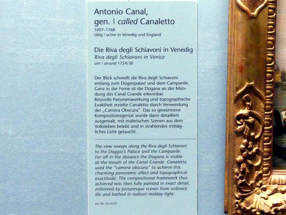 """Giovanni Antonio Canal (""""Canaletto""""): Die Riva degli Schiavoni in Venedig, um 1724 - 1730, Bild 2/2"""