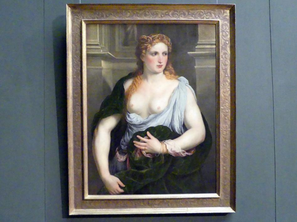 Paris Bordone: Bildnis einer jungen Frau in grünem Mantel, Um 1550