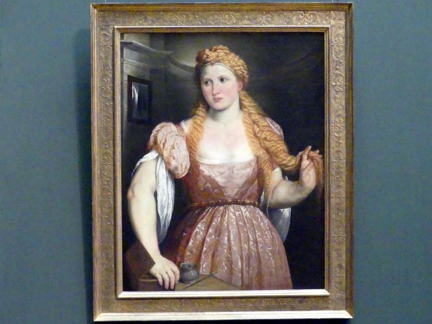 Paris Bordone: Bildnis einer jungen Frau am Putztisch, Um 1550
