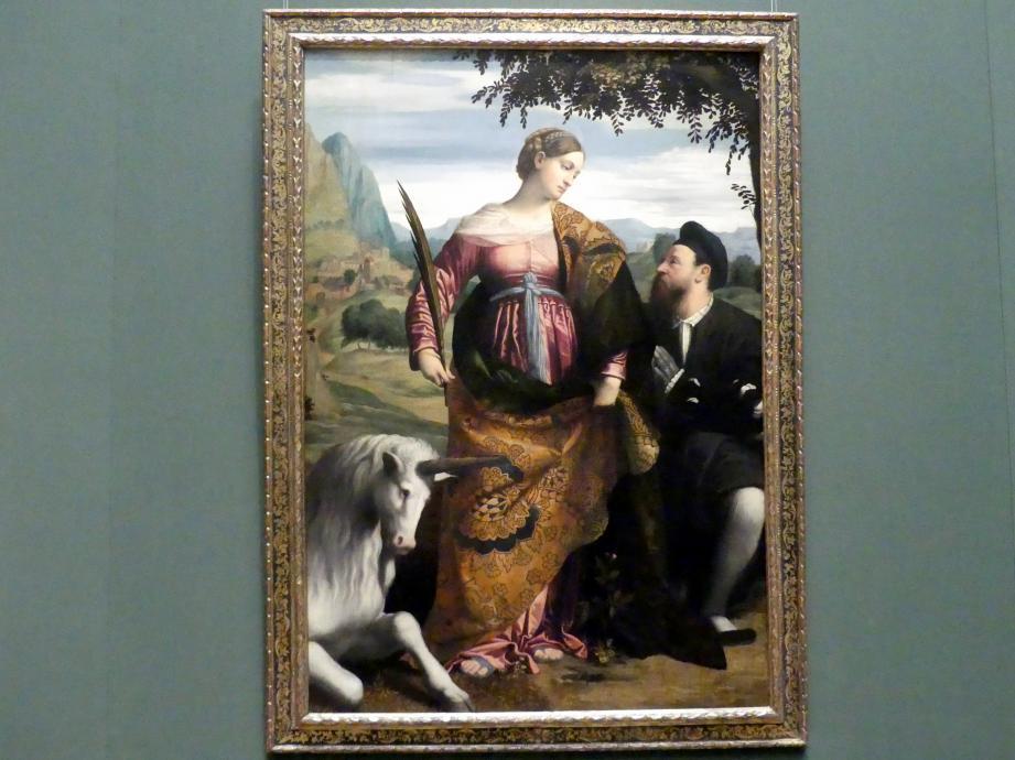 Alessandro Bonvicino (Moretto): Hl. Justina, von einem Stifter verehrt, um 1530 - 1534