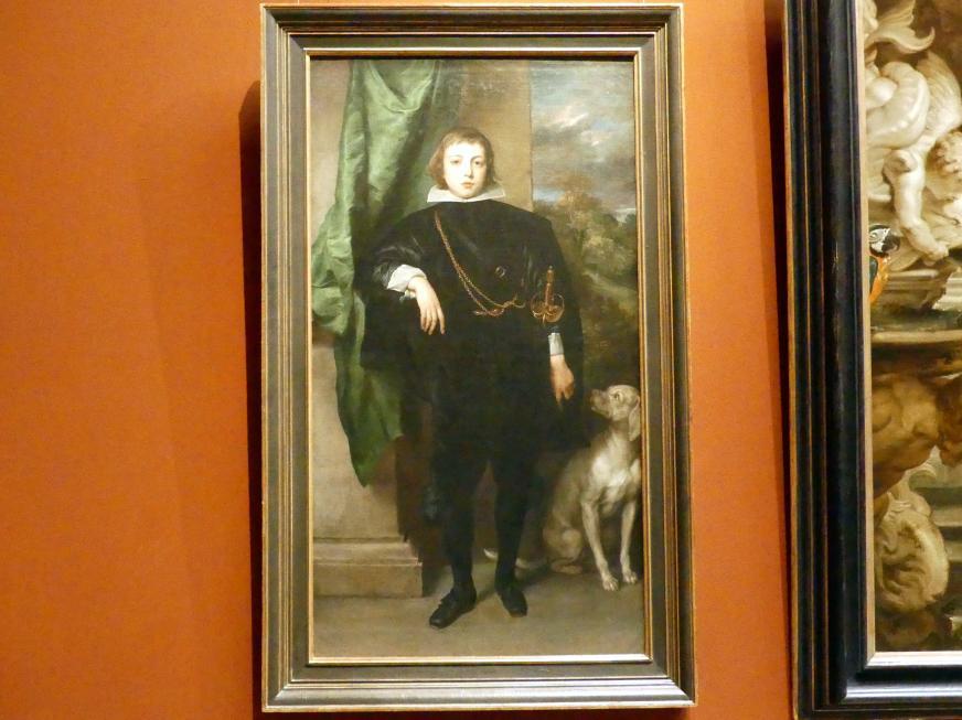 Anthonis (Anton) van Dyck: Filippo Francesco d'Este, Marchese di Lanzo, mit Hund, 1634 - 1635