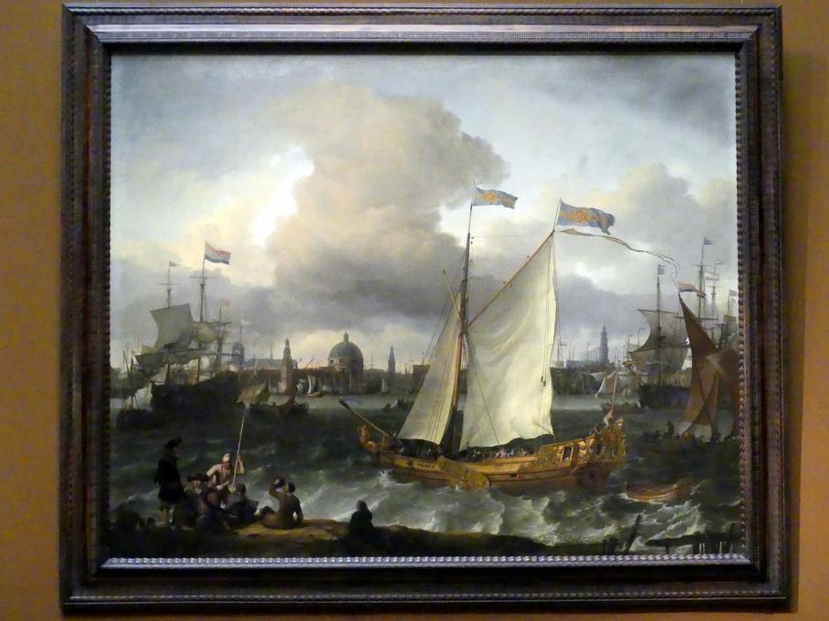 """Ludolf Bakhuizen (Backhuysen): Die schwedische Jacht """"Lejonet"""" auf dem IJ vor Amsterdam, 1674"""