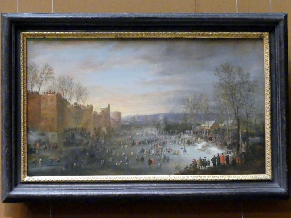 Robert van den Hoecke: Schlittschuhlaufen auf dem Stadtgraben in Brüssel, 1649