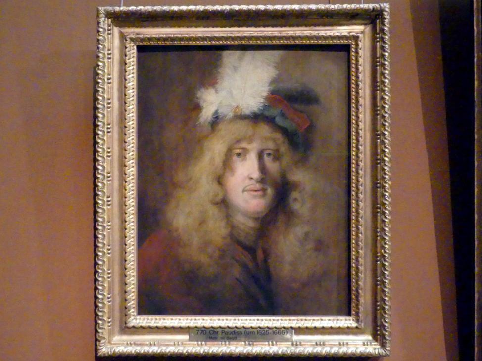 Christopher Paudiß: Bildnis eines jungen Mannes mit Federbarett, 1660 - 1662