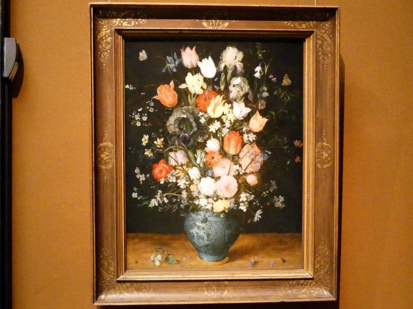 Jan Brueghel der Ältere (Blumenbrueghel): Blumenstrauß in einer blauen Vase, um 1608