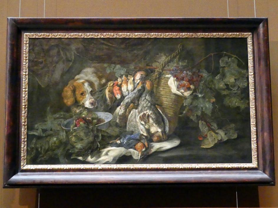 Jan Fyt: Früchte und Geflügel mit Jagdhund, 1652