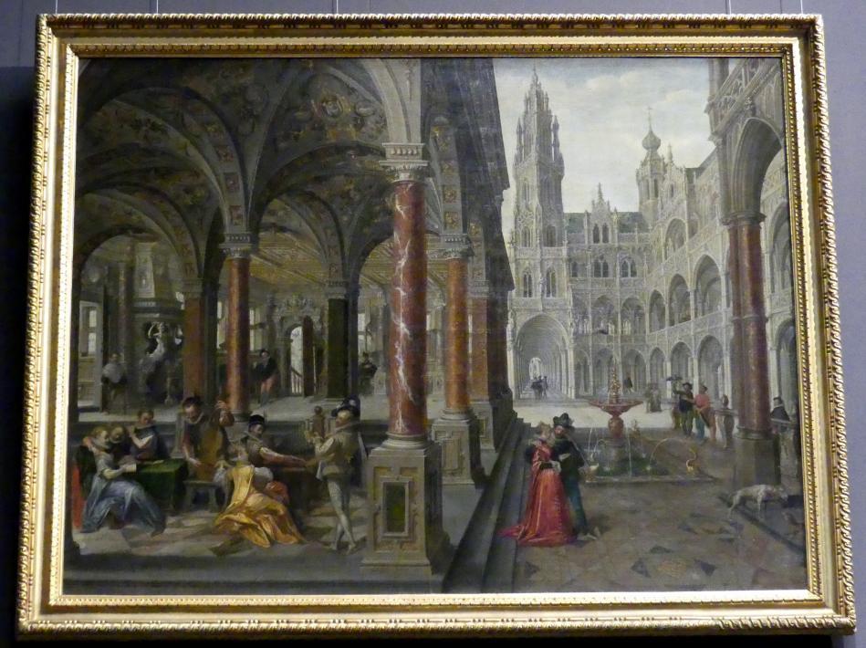 Hans Vredeman de Vries: Palastarchitektur mit Musizierenden, 1596