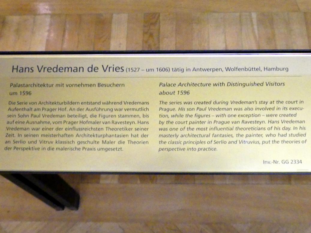 Hans Vredeman de Vries: Palastarchitektur mit vornehmen Besuchern, um 1596