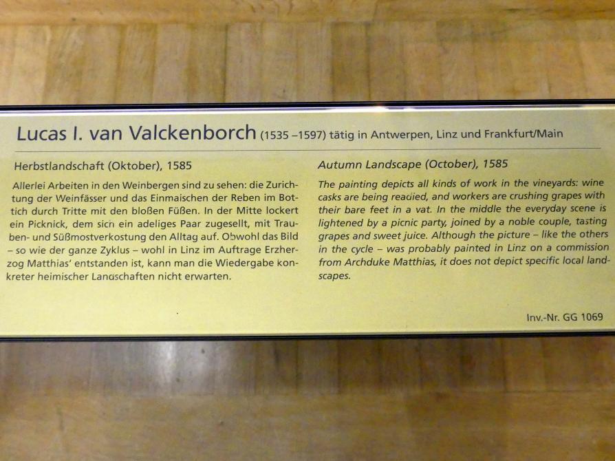 Lucas van Valckenborch: Herbstlandschaft (Oktober), 1585, Bild 2/2