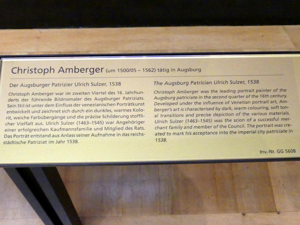 Christoph Amberger: Der Augsburger Patrizier Ulrich Sulzer, 1538, Bild 2/2