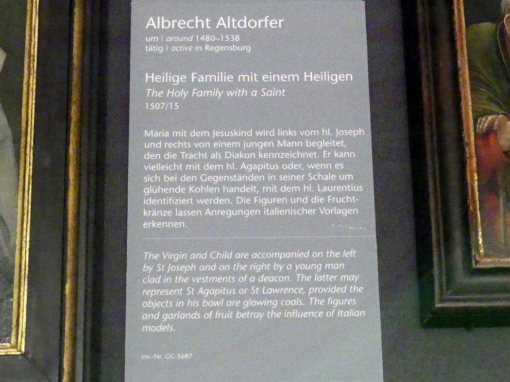 Albrecht Altdorfer: Heilige Familie mit einem Heiligen, 1507 - 1515, Bild 2/2