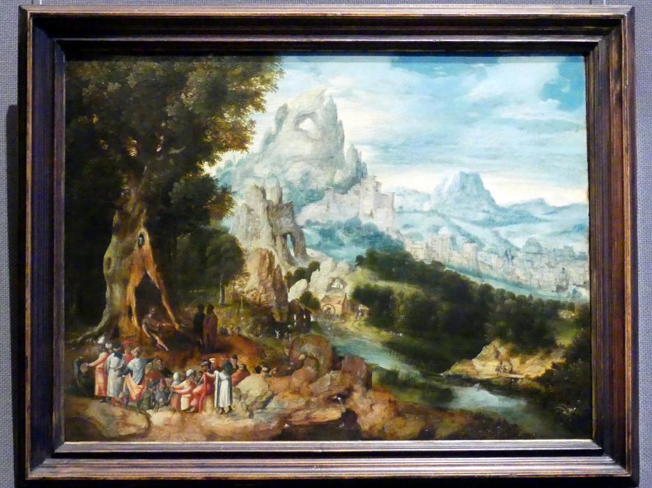 Herri met de Bles: Landschaft mit der Predigt Johannes des Täufers, um 1535 - 1540