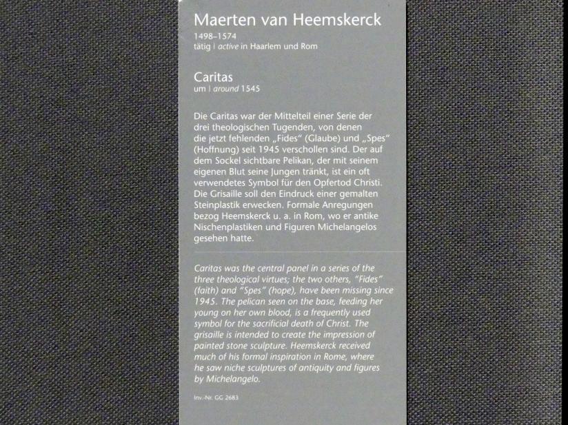 Maarten van Heemskerck: Caritas, Um 1545