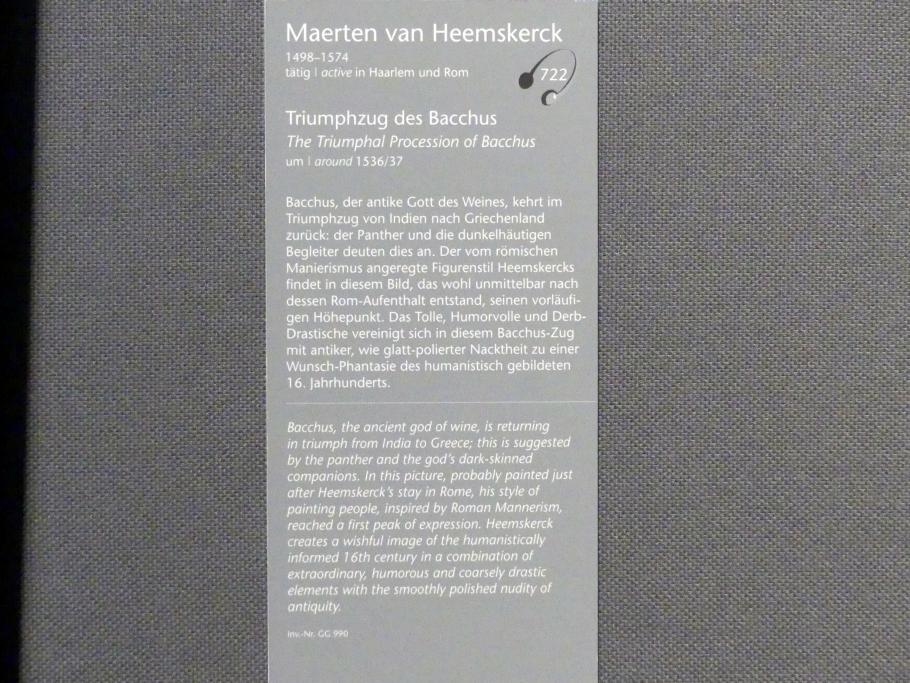 Maarten van Heemskerck: Triumphzug des Bacchus, Um 1536 - 1537