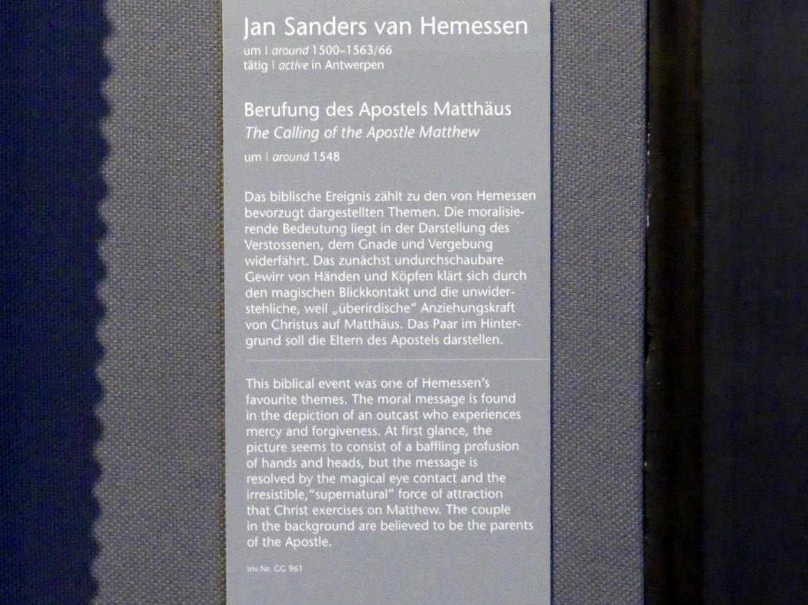 Jan Sanders van Hemessen: Berufung des Apostels Matthäus, um 1548, Bild 2/2