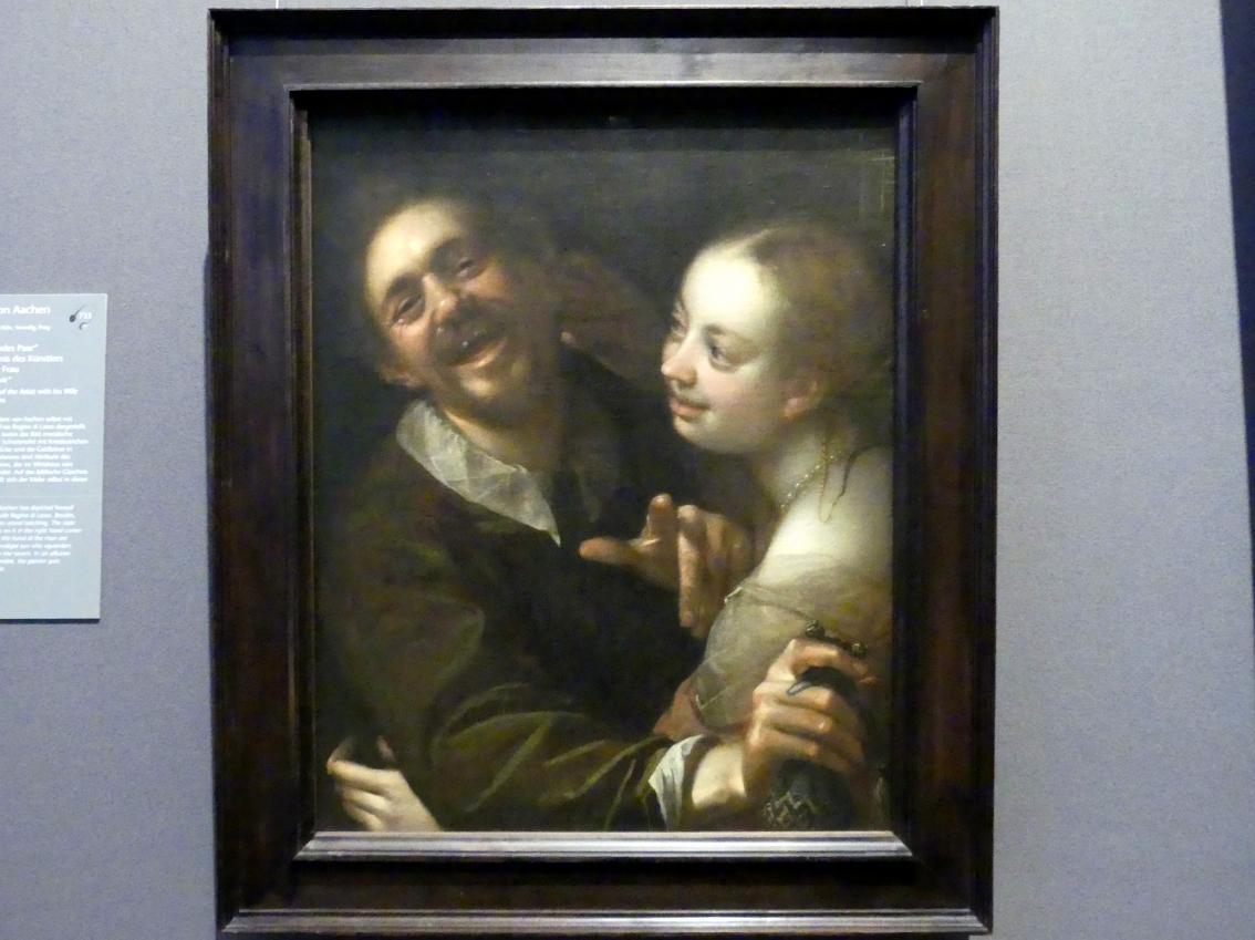 """Hans von Aachen: """"Scherzendes Paar"""", Selbstbildnis des Künstlers mit seiner Frau, Um 1596"""