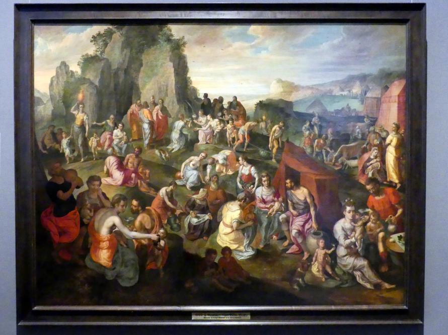 Gillis Mostaert: Moses schlägt Wasser aus dem Felsen, Um 1560