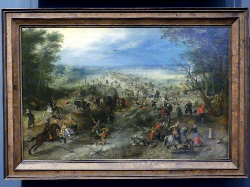 Jan Brueghel der Ältere (Blumenbrueghel): Überfall auf einen Wagenzug, um 1612