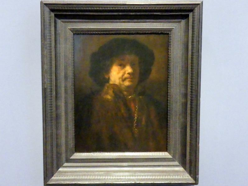 Rembrandt (Rembrandt Harmenszoon van Rijn): Selbstbildnis im Pelz, mit Kette, um 1656 - 1657