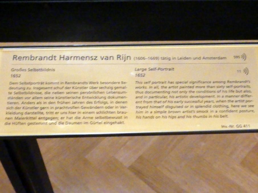 Rembrandt (Rembrandt Harmenszoon van Rijn): Großes Selbstbildnis, 1652