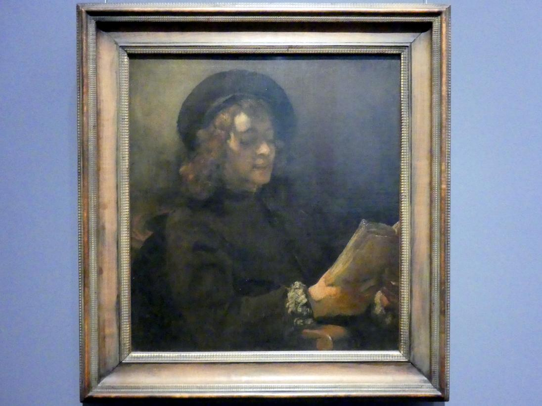 Rembrandt (Rembrandt Harmenszoon van Rijn): Titus von Rijn (?), der Sohn des Künstlers, lesend, Um 1656 - 1657