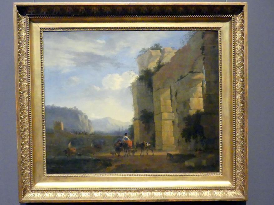 Nicolaes Berchem: Italienische Landschaft mit Aquäduktruine, 1675