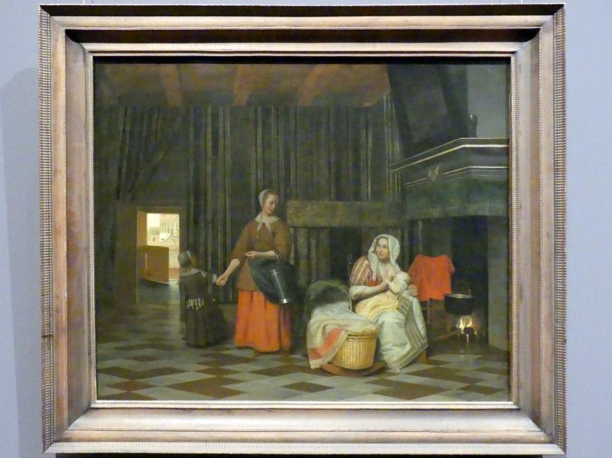 Pieter de Hooch: Frau mit Kind und Dienstmagd, Um 1663 - 1665