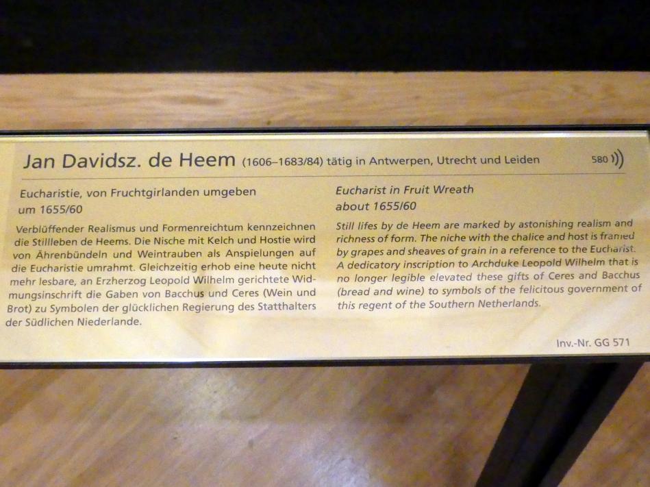 Jan Davidsz. de Heem: Eucharistie, von Fruchtgirlanden umgeben, Um 1655 - 1660