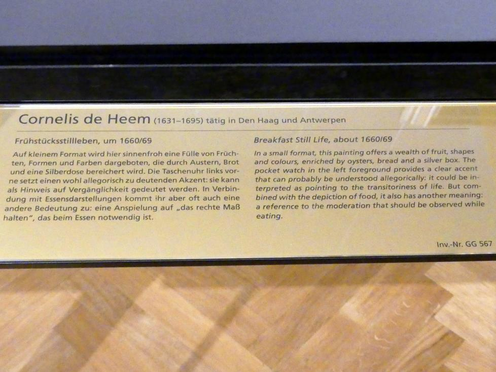 Cornelis de Heem: Frühstücksstillleben, um 1660 - 1669, Bild 2/2