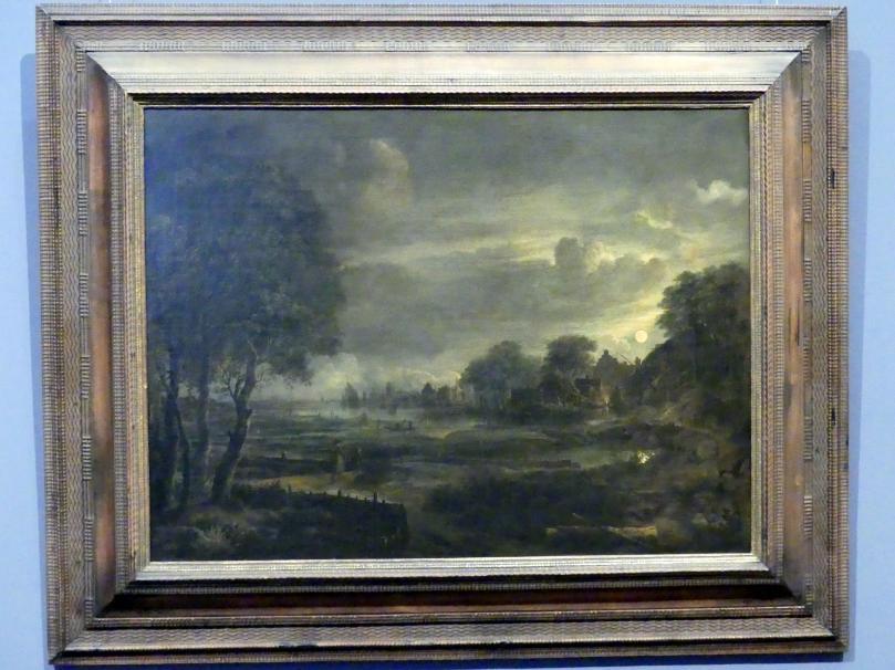 Aert van der Neer: Landschaft mit Dorf bei Mondschein, um 1650