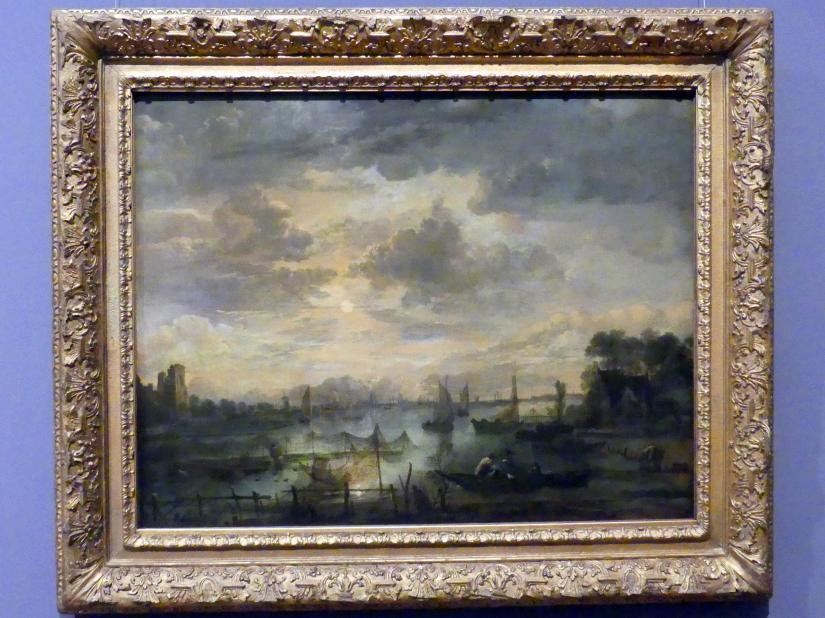 Aert van der Neer: Flusslandschaft mit Schiffen bei Mondschein, um 1665 - 1670