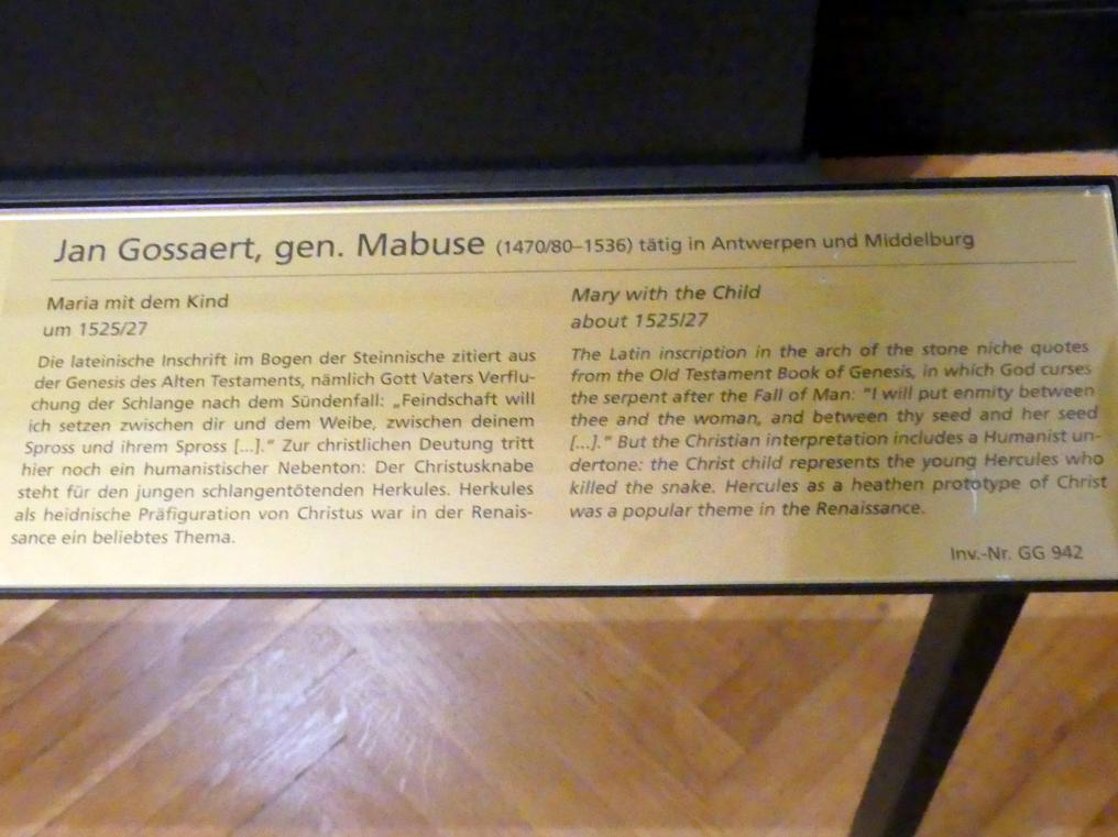Jan Gossaert, genannt Mabuse: Maria mit dem Kind, Um 1525 - 1527