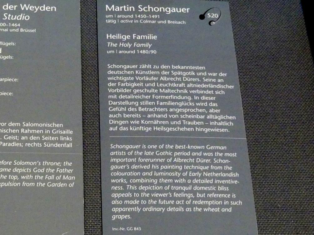 Martin Schongauer: Heilige Familie, um 1480 - 1490, Bild 2/2