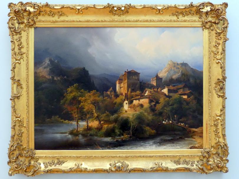Caspar Scheuren: Dorf mit Burg im Felsental, 1841