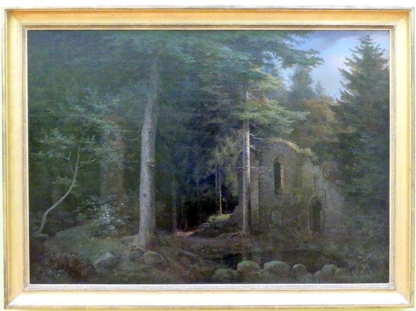 Ernst Ferdinand Oehme: Gotische Kirchenruine im Walde, 1841