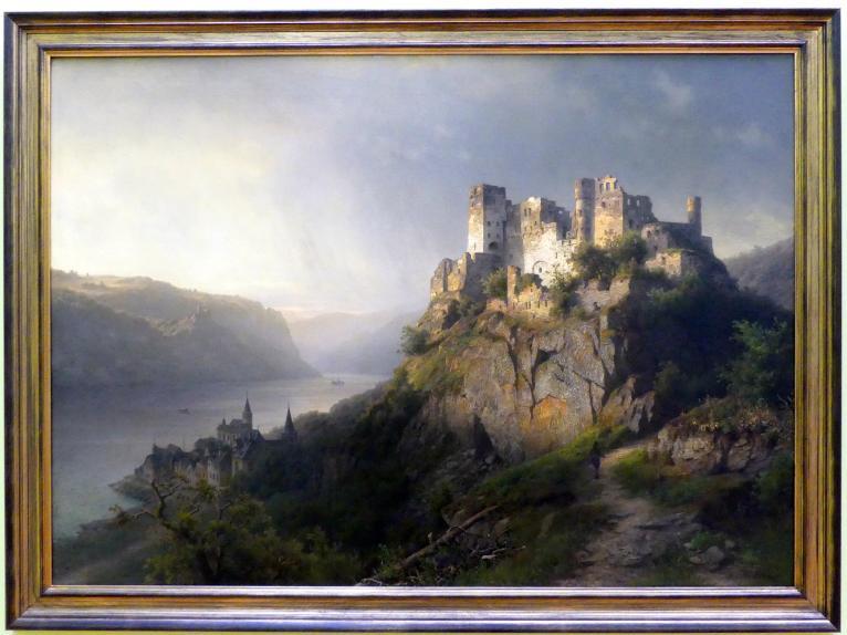 Joseph Jansen: Rheinlandschaft mit Burg, um 1860