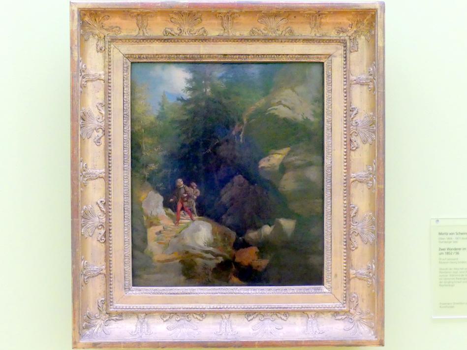 Moritz von Schwind: Zwei Wanderer im Gebirgstal, Um 1852 - 1856