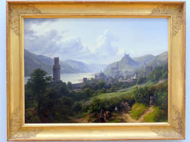 Johann Heinrich Schilbach: Oberwesel am Rhein mit Burgruine Schönburg, 1832
