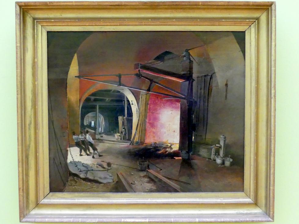 Carl Geyling: Drei Arbeiter in einer Eisenhütte, um 1840