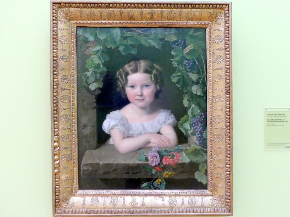 Ferdinand Georg Waldmüller: Die vierjährige Komtesse E. in weinlaubumranktem Fenster, 1821