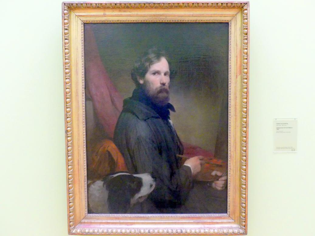 Friedrich von Amerling: Selbstportrait mit Hund Neptun, 1843