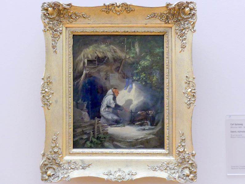 Carl Spitzweg: Eremit, Hühnchen bratend, 1841