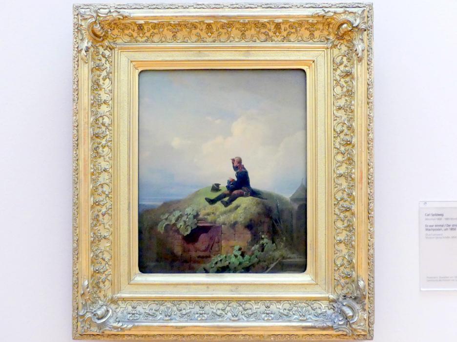 Carl Spitzweg: Es war einmal / Der strickende Wachposten, Um 1850